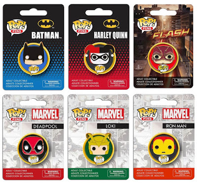 DC Comics & Marvel Pop! Enamel Pins by Funko - Batman, Harley Quinn, The Flash TV Series, Deadpool, Loki & Iron Man