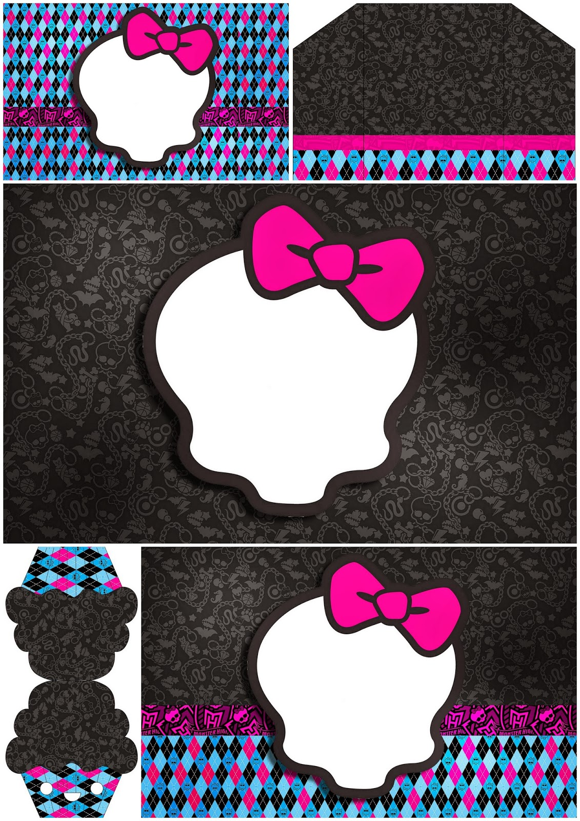 Monster High with Black Background: Free Printable Invitations ...