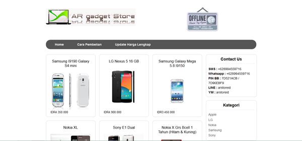 Arstoreid.com Toko Online Smartphone Terpercaya
