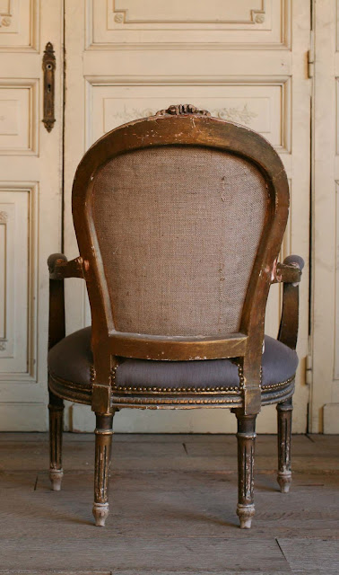 Vintage Armchairs Very cool Louis XVI worn gilt Armchairs, these have a great look, upholstered with dark grey cotton. 37H x 25W x 24D Seat Height: 17 Arm Height: 24 as seen on l&l