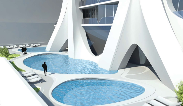 Pools on the podium of One Thousand Museum by Zaha Hadid Architects