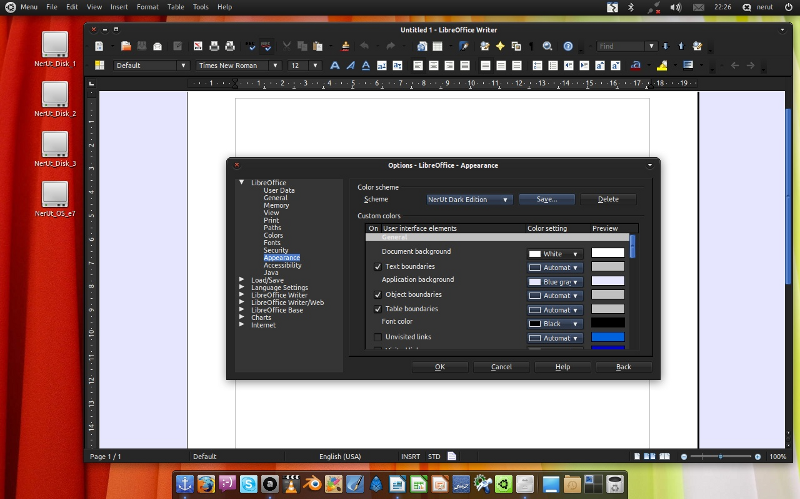 LibreOffice berpadu dengan tema NerUt Dark Equinox