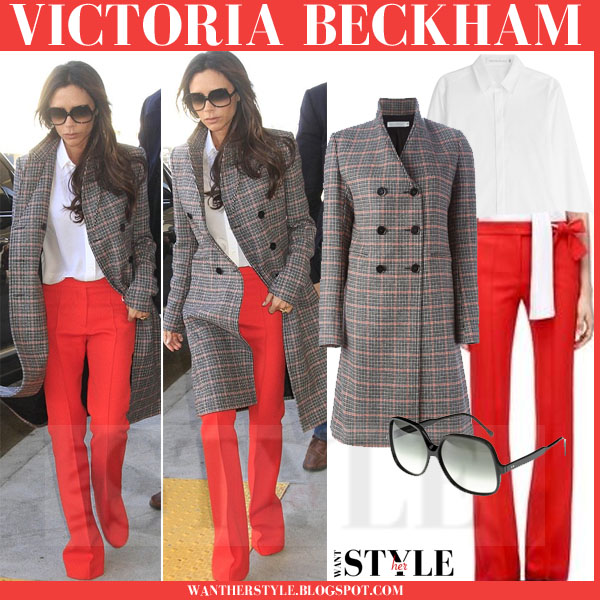 Victoria Beckham in check print coat and red pants what she wore streetstyle