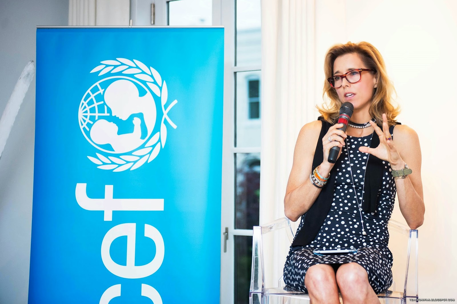 Téa Leoni, UNICEF ambassador and U.S. Fund for UNICEF national board member, speaks about the crisis in Syria in Washington (Courtesy of UNICEF)
