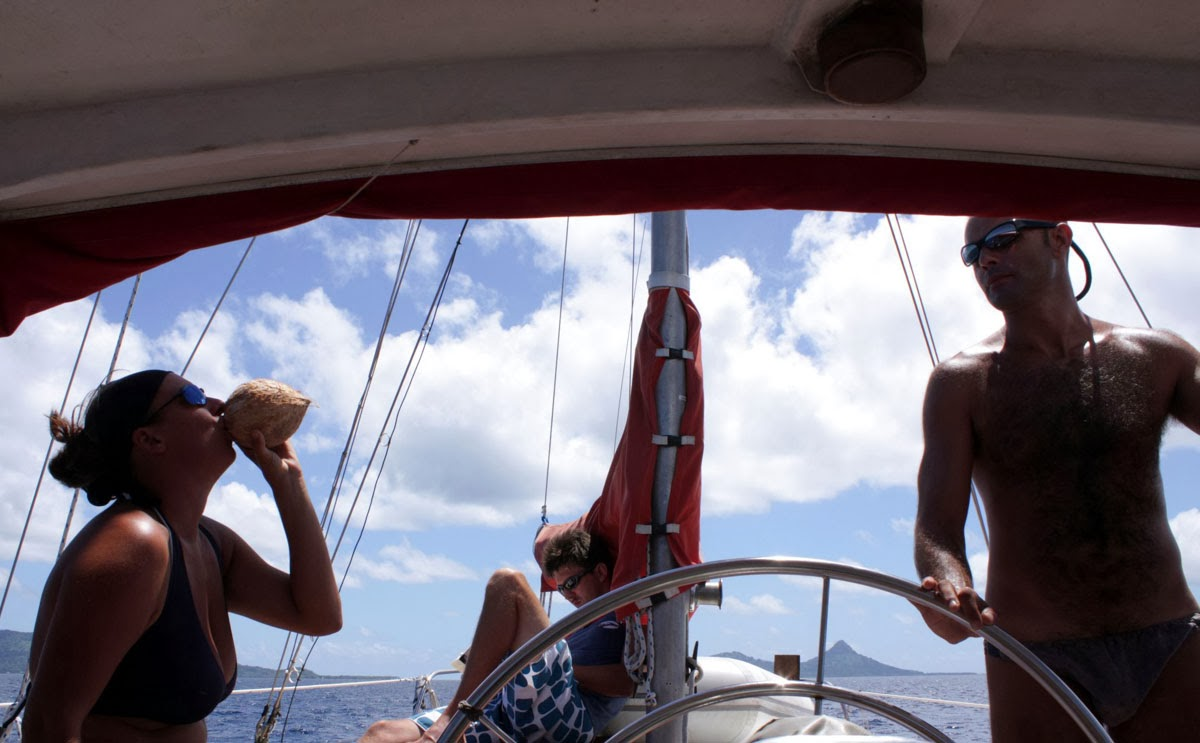 Coconut drinking while sailing in Micronesia