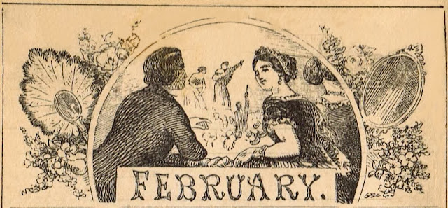 February Calendar Illustration Drawing from Antique 1800's Almanac via Knick of Time