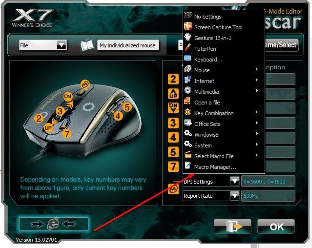 cara setting mouse macro x7 p90