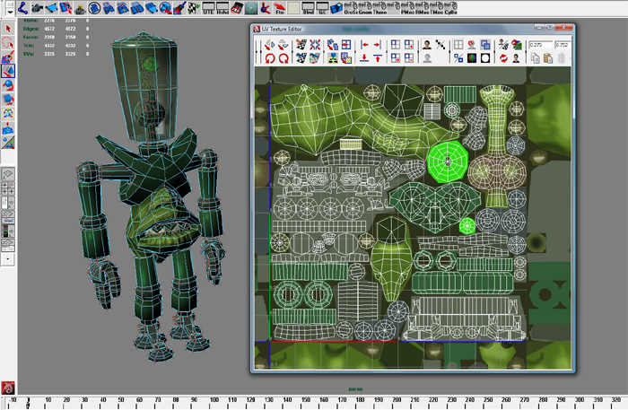 Alien UV map screen grab from Maya