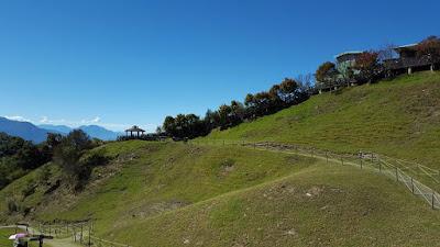 Green grassland and clear blue sky at Cingjing Farm Taiwan