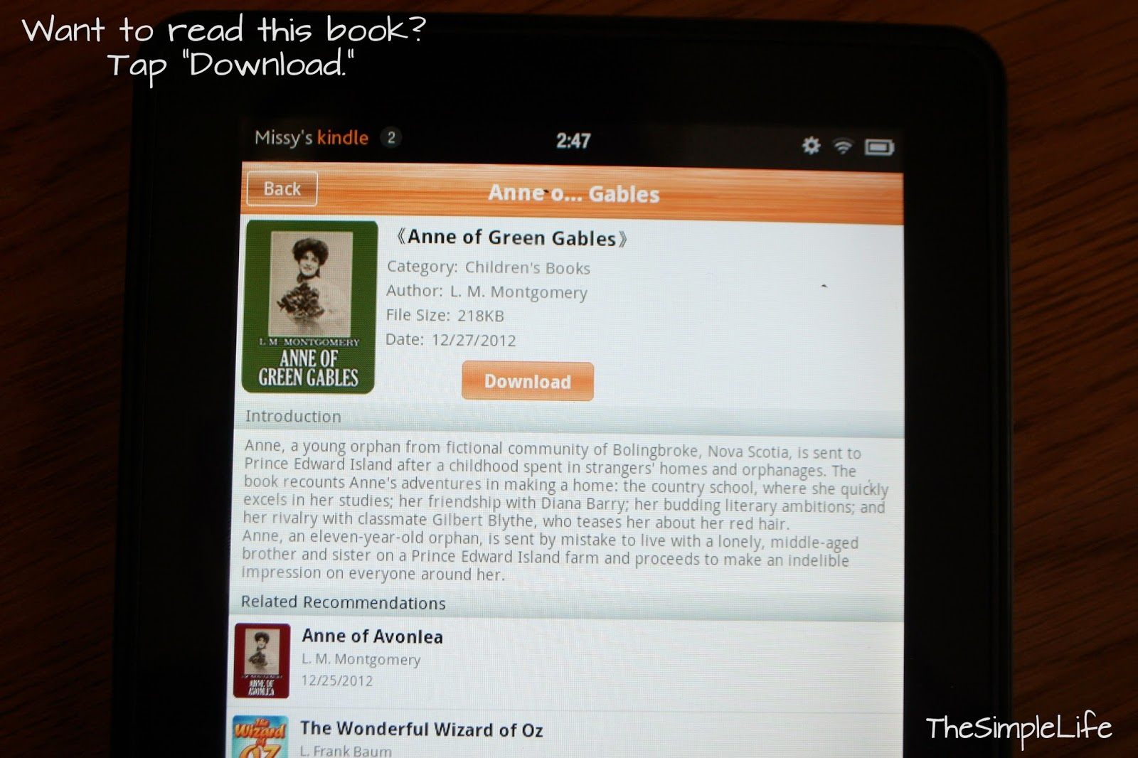 Anne of Green Gables is my favorite book, so I thought I'd use this as an  example!! When you find a book you think you might be interested in, tap  the title ...