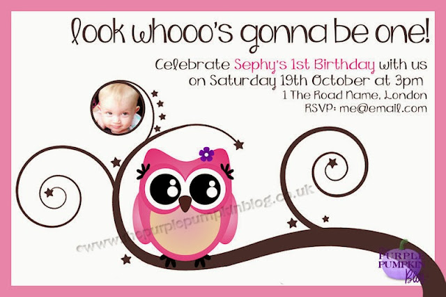 Cute Owl 1st Birthday Party Invitations