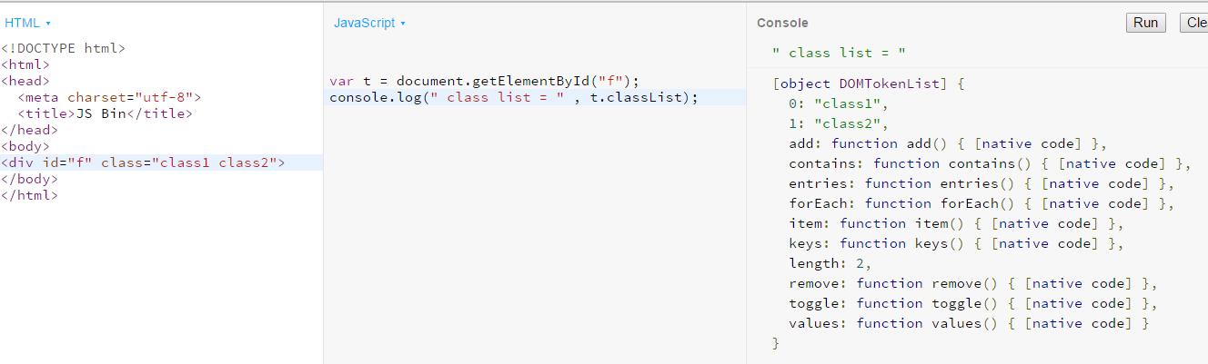 html classlist