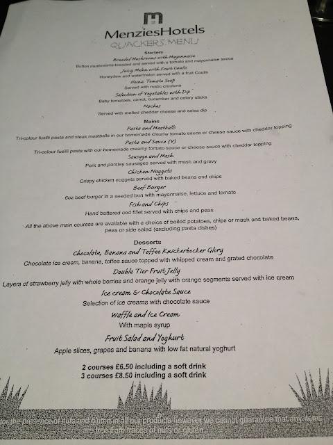 Children's menu at Menzies Derby Mickleover Court Hotel