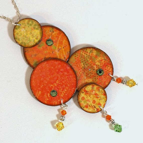 biżuteria decouapge jesienne inspiracje jewellery decoupage