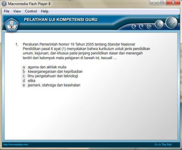 Halaman Soal Aplikasi Uji Kompetensi Guru 2015 dengan Flash Player