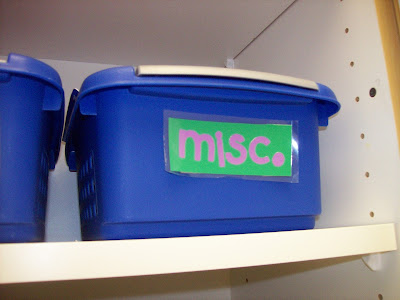Labels of supply bins for orchestra classroom