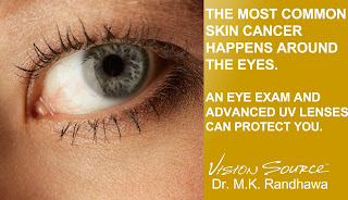The most common skin cancer happens around the eyes.  An eye exam and advanced UV lenses can prevent it.