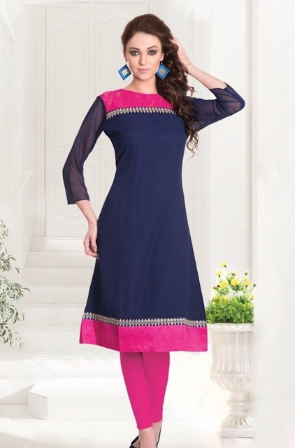 Navy Blue & Pink Georgette Casual Kurti