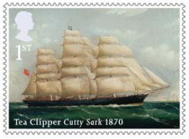 Stamp showing Tea Clipper Cutty Sark 1870.