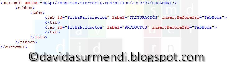 Código XML para añadir dos fichas personalizadas