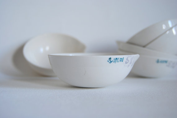 vintage white ceramic bowl - evaporating dish at Space Rocket Store