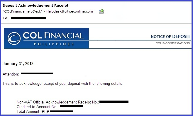 Col me joey how to fund your col account deposit acknowledgment receipt yadclub Gallery