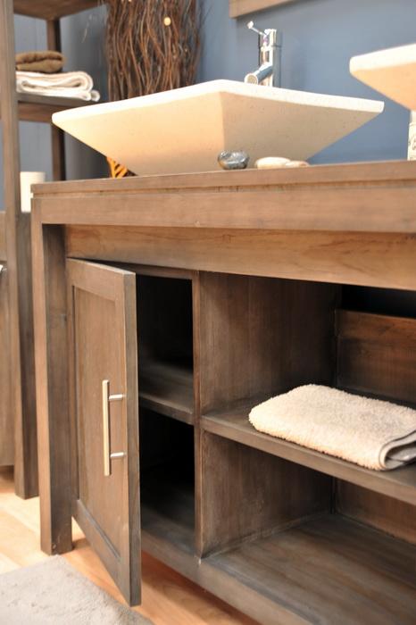 Meuble de salle de bain en teck grey meubles de salle de - Meuble salle de bain teck castorama ...