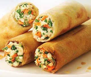 garlic chicken spring rolls
