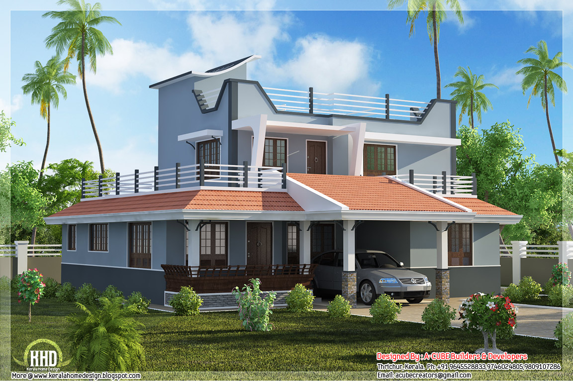 Contemporary style 3 bedroom home plan kerala home for Three bedroom house plans kerala style