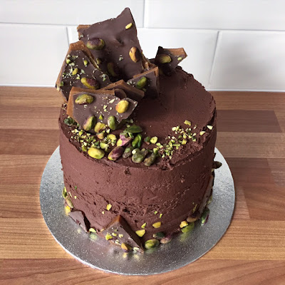 Chocolate and Pistachio Cake with a Toffee topping Cake Inspiration Homemade Cake