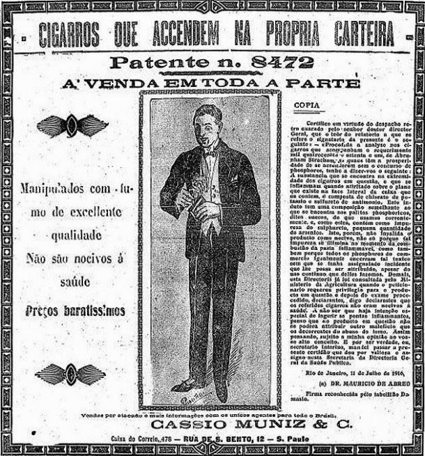 Cigarros que acendem diretamente da carteira - 1916