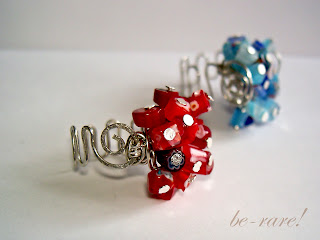 pierścionki wire wrapping fokus na czerwone millefiori