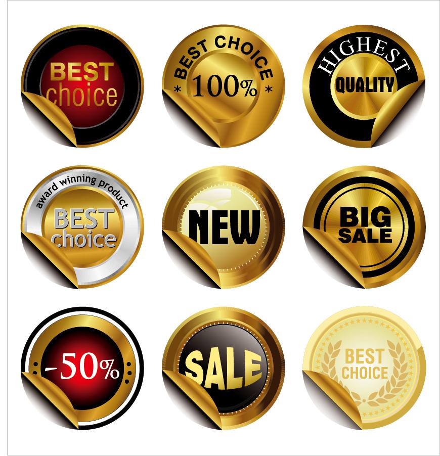 金色に輝くラベル デザイン Classic golden labels stickers Design イラスト素材