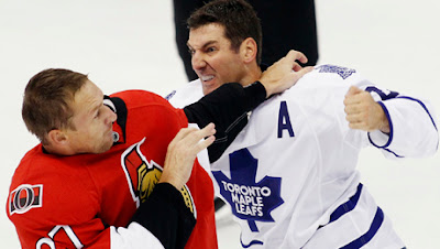 leafs francois beauchemin fight