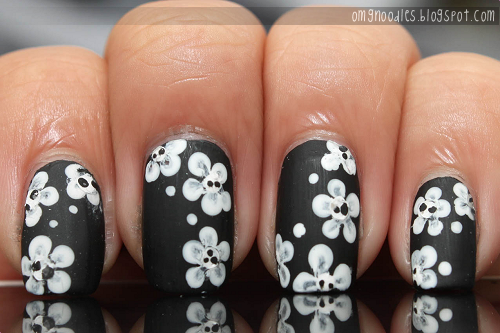 matte black white flowers nails