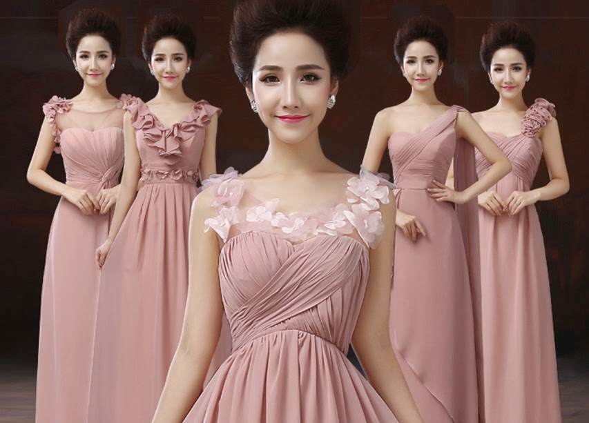 NEW Fabulous Five-Design Pink Bridesmaids Maxi Dress