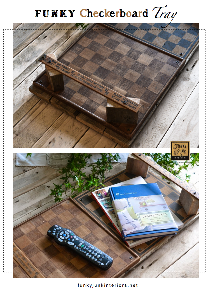 Funky checkerboard tray with vintage yardstick handles, via Funky Junk Interiors