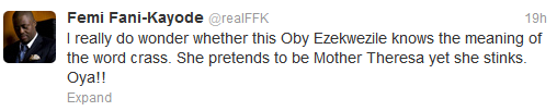 Femi Fani Kayode Should Be Taken In And Refrained From Making Hateful Speeches Against The IGBOS - Oby Ezekwesili