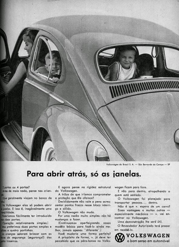 Campanha da Volkswagen para promover a segurança do Fusca ao transportar crianças, em 1963.