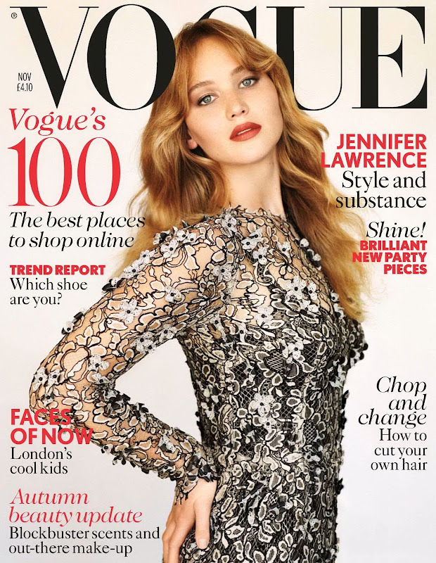 Jennifer Lawrence on the cover of  Vogue UK November 2012 issue