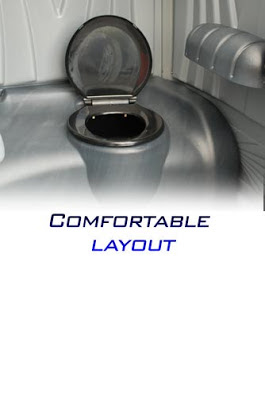 A White Toilet Portable Toilet is comfortable inside