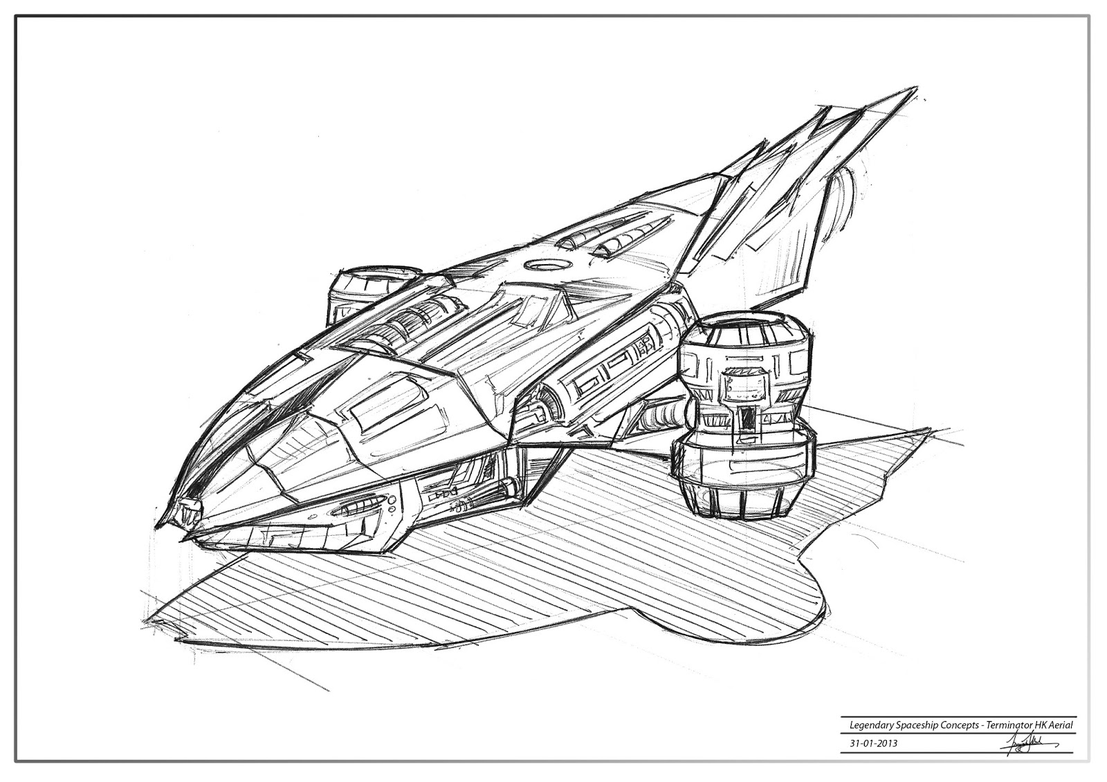 how to draw a spaceship in perspective