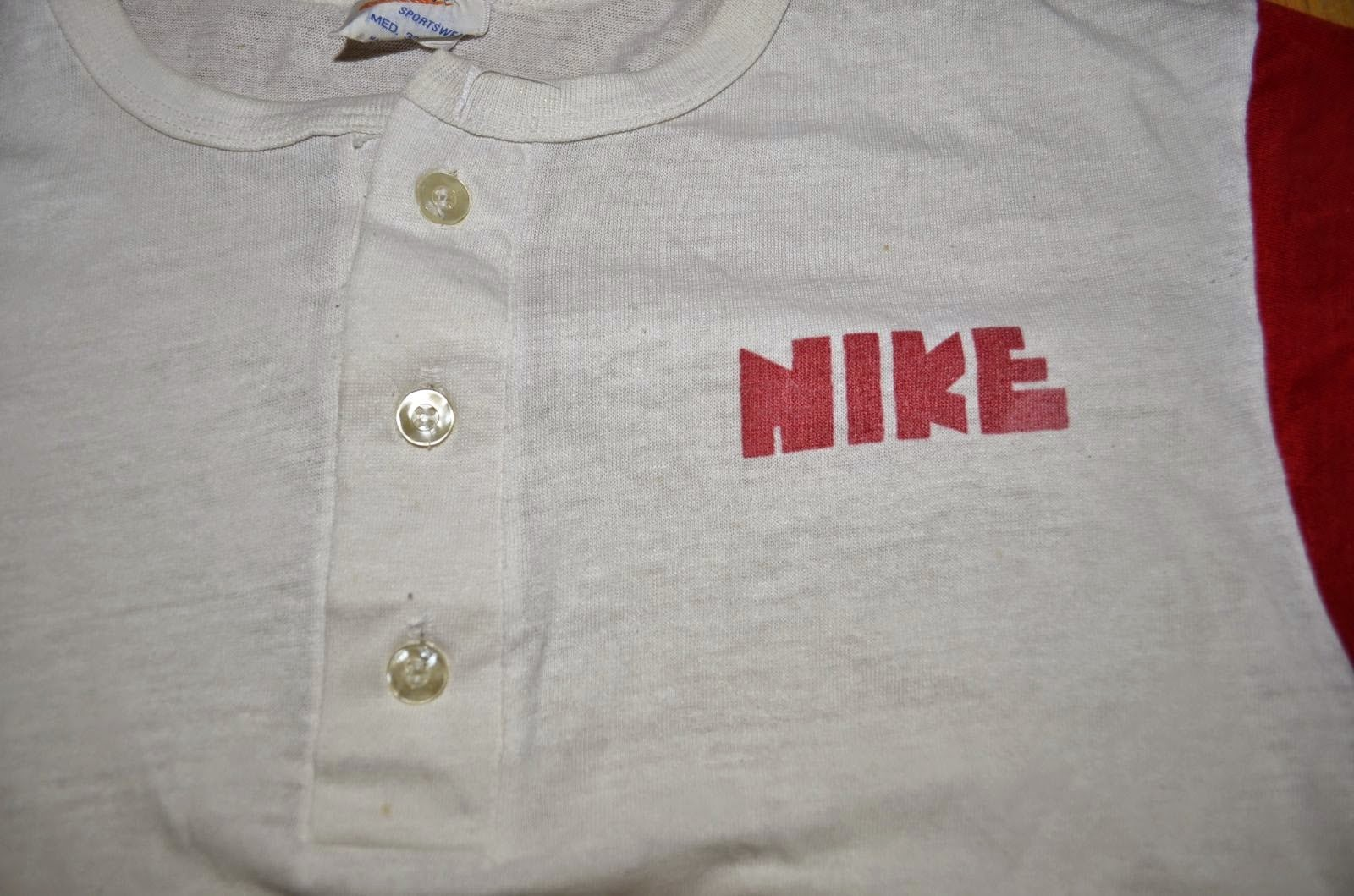 Vintage S Nike Block Letter Orange Swoosh  Tone Henley T Shirt