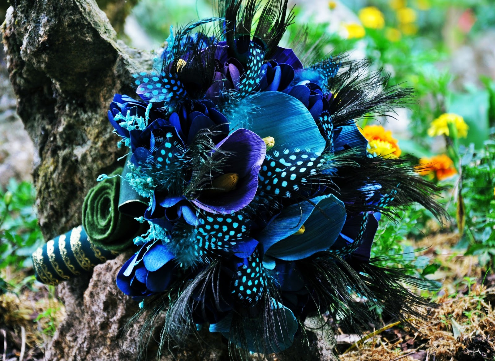 Blue Wedding Bouquets made of Wood, Paper, Corn Husk and Fossilized ...