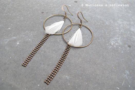 Boucles d'oreilles plume Théodora Grabrielli blanches