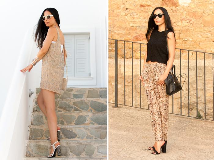 Pantalones estampado serpiente pitón y Mono short con lentejuelas nude de Zara