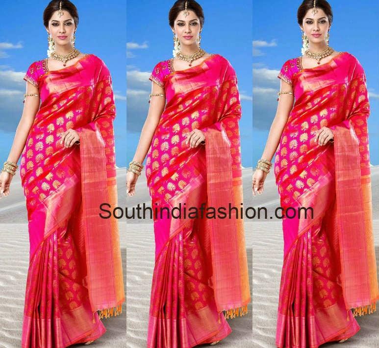 pink bridal wedding silk saree