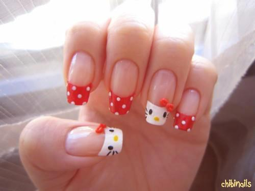 Hello Kitty, Chibi, Nail Art, Hello Kitty Nail Art, Cute, Cuteness, Popular Pinterest,