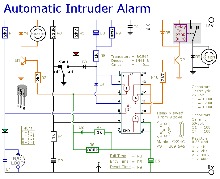 Automatic Intruder Alarm Circuit Diagram