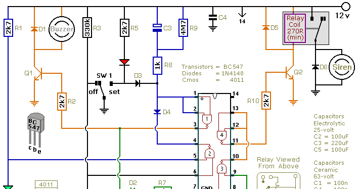 automatic intruder alarm circuit diagram the circuit